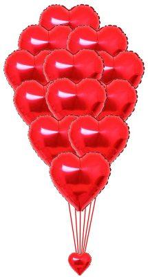 Dozen Red Foil Heart Balloons 1500
