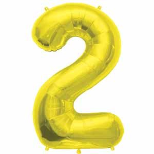 NUMBER 2 SHAPED JUMBO BALLOON GOLD 34 INCH A00106