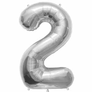 NUMBER 2 SHAPED JUMBO BALLOON SILVER 34 INCH A00096