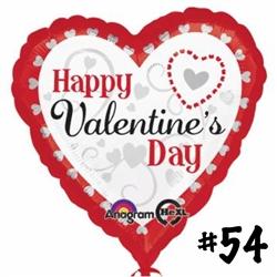 VALENTINE SILVER HEARTS 18 INCH F27596 - 54