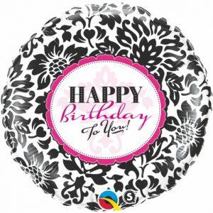 18 Inch Birthday Elegant Damask Mylar Balloon 30986