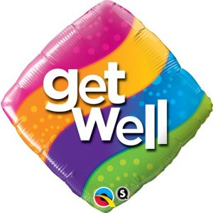18 Inch Get Well Curvy Stripes Diamond Mylar Balloon P25330-64