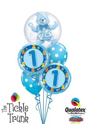 1ST Birthday Boy Blue Teddy Insider Bubble Balloon Bouquet FB-03