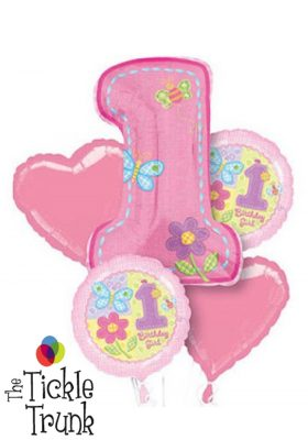 1ST Birthday Girl Hugs & Stitches Balloon Bouquet FB-01 14846