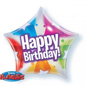22 Inch Birthday Stars & Dot Patterns Bubble Balloon 13758
