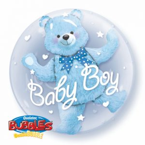 24 Inch Baby Blue Bear Double Bubble Balloon 29486