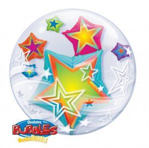 24 Inch Multicoloured Stars Double Bubble Balloon 11962