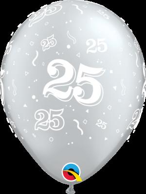 "25-A-Round Silver Latex 11"" Balloon 18288"