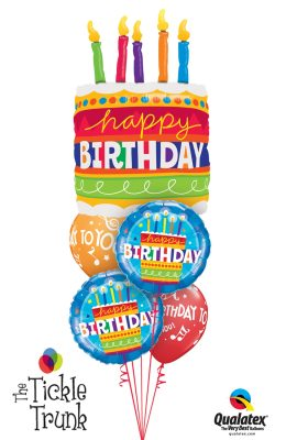 Birthday Blue Cake & Candles Balloon Bouquet BK-12