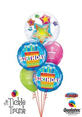 Birthday Cake Blue & Star Bubble Birthday Balloon Bouquet BK06