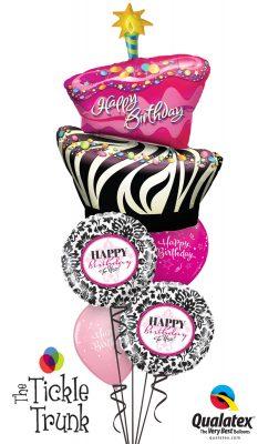 Birthday Funky Zebra Stripe Cake Demask Balloon Bouquet BK-03