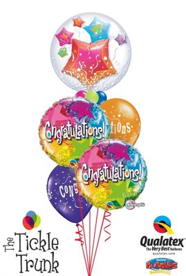 Congratulations Holographic Stars Insider Bubble Balloon Bouquet CG-03