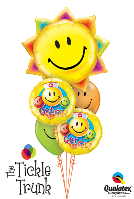Get Well Balloon Bouquet Smiley Face Sun GW-03