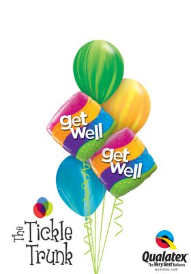Get Well Balloon Bouquet Curvy Stripes Diamond GW-01