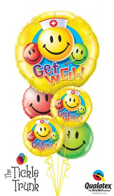 Get Well Smiley Faces Balloon Bouquet GW-02