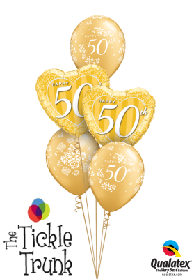Happy 50th Anniversary Gold Balloon Bouquet AN-06