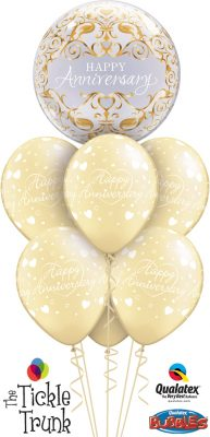 Happy Anniversary Gold Med Classic Balloon Bouquet AN-03