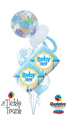 New Baby Boy Rattle Balloon Bouquet NB-06