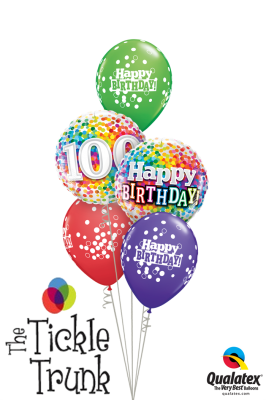 One Happy Century 100th Birthday Confetti Balloon Bouquet AR-20 49496 49565 52962