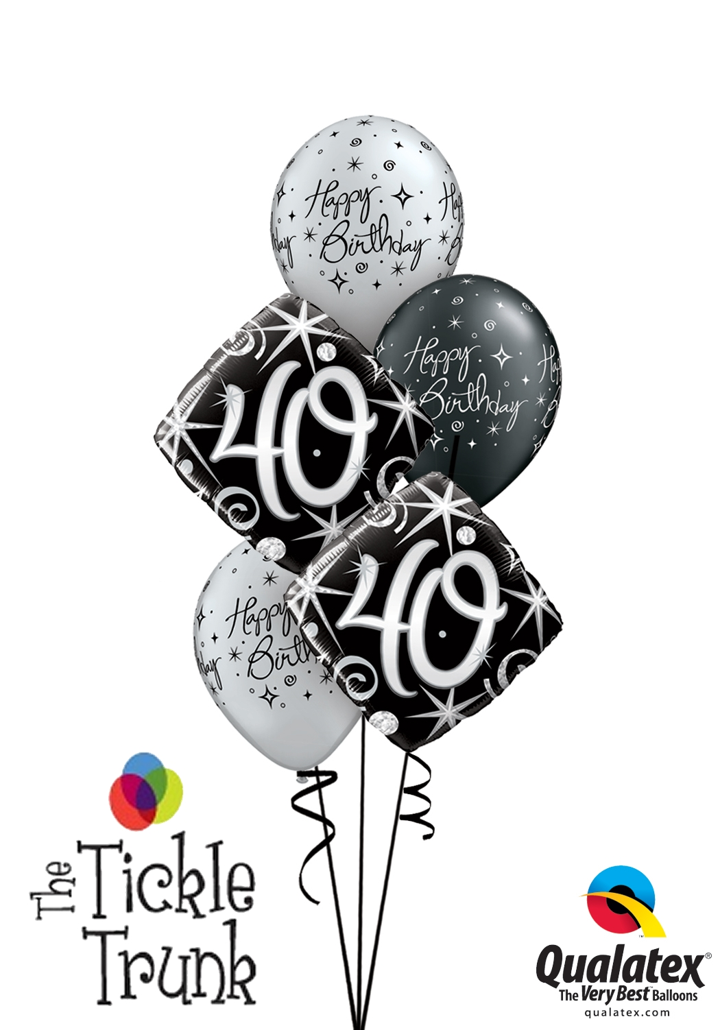 Silver Sparkle 40th Birthday Balloon Bouquet AR 01
