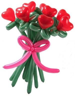 1 Dozen Balloon Heart Roses