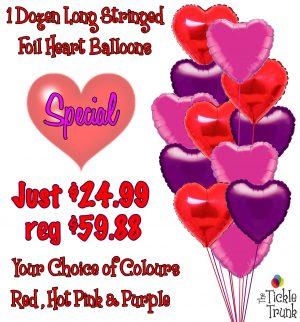 1 Dozen Foil Heart Balloons