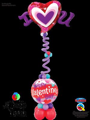 I Heart You Valentines Bubbles Balloon Column