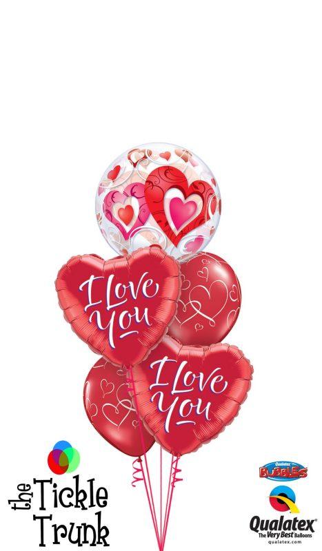 I Love You Heart Bubble Balloon Bouquet