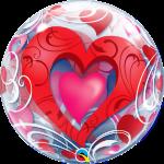 Red Hearts & Filigree Valentines Balloon Bubble 33909B_F