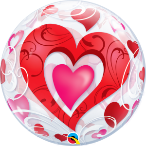 Red Hearts & Filigree Valentines Balloon Bubble 33909B_F