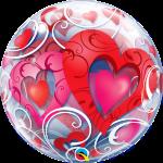 Red Hearts & Filigree Valentines Balloon Bubble back 33909B_F